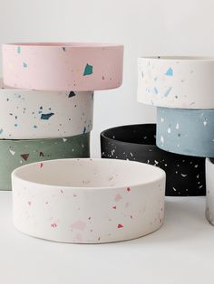 Terrazzo isn't just for floors! Four Legs / Four Walls is bringing this unique m… Terrazzo isn't just for floors! Four Legs / Four Walls is bringing this unique m…,Terazzo Terrazzo isn't just for. Ceramic Bowls, Ceramic Pottery, Ceramic Art, Ceramic Design, Terrazzo, Concrete Crafts, Kintsugi, Pet Bowls, Cute Dog Bowls