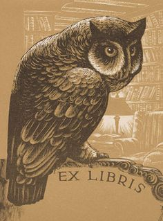 """blog article, """"bookplates: business cards of the past?"""", lynd ward bookplate with owl design, archives of american art, smithsonian institution"""