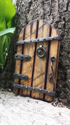 hobbit door by tinkerforge on Etsy Gnome Door, Gnome House, Fairy Tree Houses, Fairy Garden Houses, Garden Gnomes, Fairies Garden, Garden Crafts, Garden Art, Garden Design