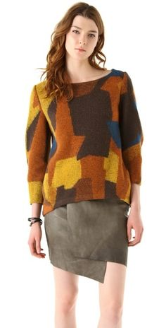 I can't decide if this is hideous or awesome. Thakoon Addition Patchwork Seamed Pullover