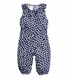 Baby girl blue and white polka dot jumpsuit