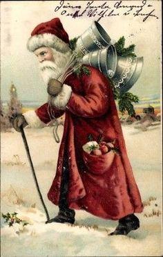Präge Ak Frohe Weihnachten, Weihnachtsmann mit Glocken - 10125498