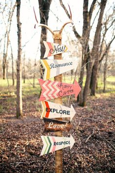Love the colorful directional signs #wedding #weddingdecor #woodland #rustic #arrows