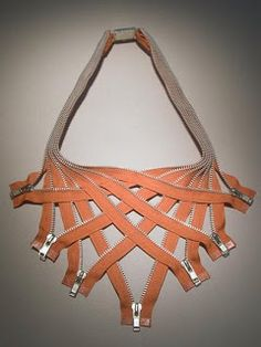 zipper jewelry by Kate Cusack.Very cool, I think I would add beads to each of the zipper pulls.