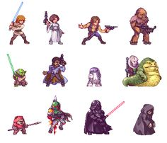 pixel art pictures and jokes / funny pictures & best jokes: comics, images, video, humor, gif animation - i lol'd Sprites, Chewbacca, Pixel Life, Pixel Art Games, Star Wars Rpg, Epic Art, Film Serie, Character Design Inspiration, Darth Vader