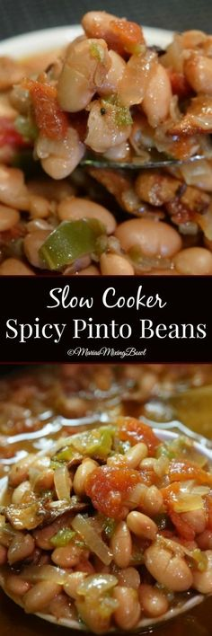 Cooker Spicy Pinto Beans - Spicy pinto beans made in the slow cooker are the perfect side dish for barbecues, potlucks and picnics. Delicious served with a piece of cornbread! Side Dish Recipes, Veggie Recipes, Mexican Food Recipes, Mexican Dishes, Thai Recipes, Crock Pot Slow Cooker, Slow Cooker Recipes, Cooking Recipes, Slow Cooker Meal Prep