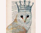 Clever owl- ORIGINAL ARTWORK Hand Painted Mixed Media on 1920 famous Parisien Magazine 'La Petit Illustration'. $10.00, via Etsy.