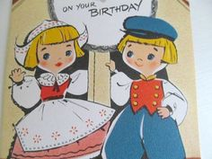 Vintage 1950s Grandma Birthday Card with Cute Dutch Kids, Retro Greeting Card, Colorful Vintage Graphics