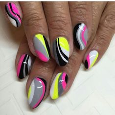 Nail design idea - Amy E. Funky Nail Art, Funky Nails, Neon Nails, Trendy Nails, Diy Nails, Cute Nails, Elegant Nail Designs, Creative Nail Designs, Elegant Nails