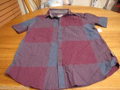 Men's Modern Amusement button up shirt CROW RARE shorts sleeve medium purple NEW