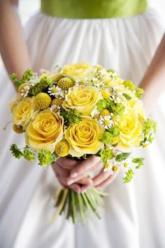 Yellow roses, billy balls, chamomile and lady's mantle Bridal Bouquet