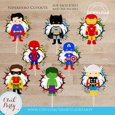 Superhero Centerpiece Superhero Table Centerpiece by ClickParty Superhero Centerpiece, Superhero Party Decorations, Fiesta Decorations, Superhero Baby Shower, Superhero Birthday Party, Superhero Cake Toppers, Cupcake Toppers, Baby Table, Bubble Party