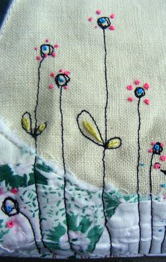 free m/c embroidery, hand embroidery, vtg patchwork all on vtg linen