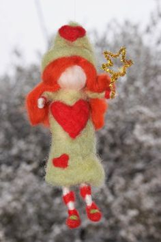 Needle felt love star fairy waldorf ornament by crystalhada on Etsy