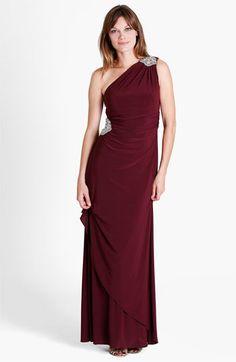 JS Boutique Embellished One Shoulder Jersey Gown available at #Nordstrom
