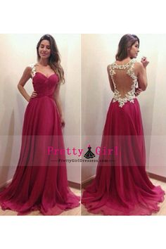 2014 Prom Dresses Straps A Line Floor Length With Applique Burgundy/Maroon
