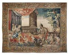 "Tapestry from Amiens, ca. 1650, p.572 & 582 (an example; ""a tapestry, a good one too, eighteenth century or older, the near twin of an Amiens I'd seen at auction [for 40,000 pounds] ... [with a mythological subject]."")"