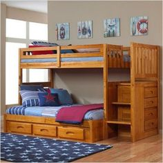 Bunk Beds With Stairs Twin Over Full.... different color