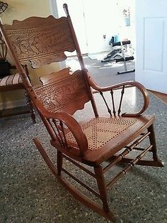 Early 1900u0027s Antique Rocking Chair. & Victorian Mahogany Rocking Chair w/ Lion Heads. | Victorian style ...