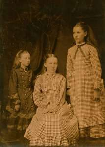 (l-r) Carrie, Mary and Laura Ingalls after The Hard Winter of 1881 was over.