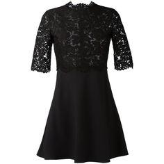 Valentino lace tp dress (12.545 BRL) via Polyvore featuring dresses, black, black flared skirt, lacy black dress, skater skirt, lace dress and kohl dresses