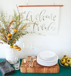 hosting thanksgiving welcome friends fall sign