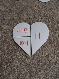 This was meant for Valentine's Day, but you could use any shape. Write the fraction on one side and multiple ways to make the fraction on the other pieces.