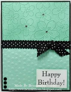 handmade birthday card by Bensarmom ... aquat with black mats, ink, candy dots and ribbon ... like the clean look ...