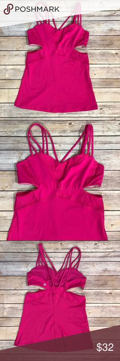 Lululemon Pink Exquisite Tank II Top Lightweight fabric and a body-skimming fit make this strappy tank a no-brainer for any yoga practice. Light support. Luxtreme fabric is four-way stretch and sweat-wicking perfect for hot classes and hot climates. Strategically placed mesh panels help you keep your cool. Pockets for optional, removable cups. Coolmax liner wicks sweat away from your body. Right fit, hip length. Condition: Lightly worn. No inside tag/size. lululemon athletica Tops