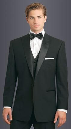 Black Carrera Tuxedo in slim fit, 1-button peak lapel.  Available at #FriarTux  Perfectly fit and fitted.