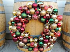 Holiday Glass Ornament Wreath by TaylordEventsSV on Etsy, $150.00