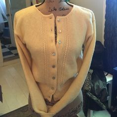 Limited Sweater Spring yellow gently used. 100% Shetland Wool The Limited Sweaters Cardigans