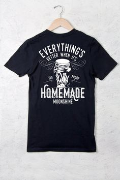 BACK VIEW - Moonshine Homemade Short Sleeve Tee | Our crew neck tee is made with 4.5 oz. 100% super soft combed ring-spun cotton and is preshrunk.