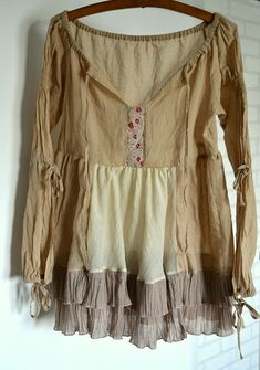 tunic cotton beige upcycled clothing recycled tunic by smArtville