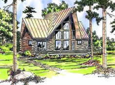 Contemporary Log House Plan 69356