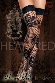 Heavy Red, Floral Fishnet Thigh-Highs, $18.00
