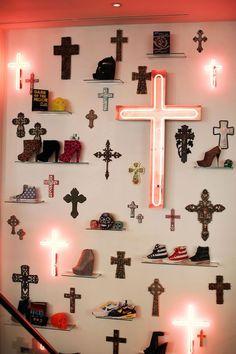 shoe shelves, neon crosses reminiscent of Romeo and Juliet Croix Christ, Kitsch, Hopeless Fountain Kingdom, Religion, Spiritus, Southern Gothic, Wall Crosses, Crosses Decor, Neon