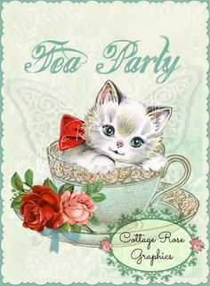 Kitten in Tea Cup Tea Party pink roses by CottageRoseGraphics