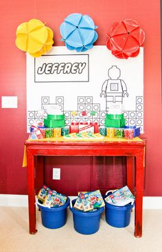 Cool lego party idea - but circle balls made out of paper plates could be used for any party. Kara's Party Ideas | KarasPartyIdeas.com