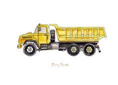 Dump Truck construction watercolor print, 8x10""