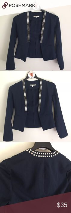 """Miami Studded Open Front Jacket Blazer Women's Miami Studded Navy Blue Stretch Fit Blazer Jacket  Open Front Size M Measures 18"""" across back arm pit to arm pit laying flat Length is 21"""" long Pre-owned in great condition with no flaws miami Jackets & Coats Blazers"""