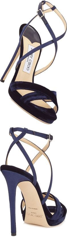 dark blue sandals Brilliant Luxury by Emmy DE ♦Jimmy Choo 'Lola' FW 2016 Pretty Shoes, Beautiful Shoes, Cute Shoes, Me Too Shoes, Pumps, Stilettos, High Heels, Stiletto Heels, Shoe Boots