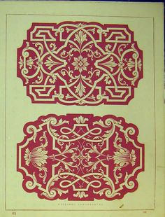 [Ornamental Design C1899 Arabesque Ceilings Old Print]