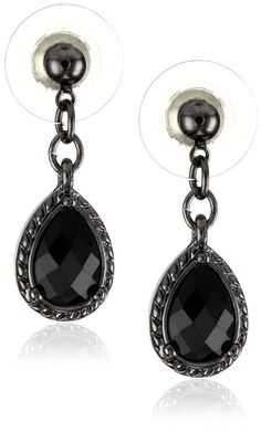 1928 Jewelry Black Victorian Inspired Petite Teardrop Earrings >>> You can get additional details at the image link. #JewelryForSale