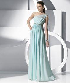One-shoulder Blue Dress
