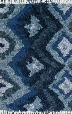 Loloi Fable Indigo Area Rug-Known for her colorful bohemian style, designer Justina Blakeney's hand-woven Fable Collection from India is an imaginative spin on the regular flat weave rug. These pieces are crafted of wool and viscose with the en Teal Area Rug, Beige Area Rugs, Justina Blakeney, Throw Rugs, Woven Rug, Places To See, Indigo, Hand Weaving, Bohemian Style