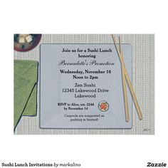 Customizable Invitation made by Zazzle Invitations. Retirement Invitations, Zazzle Invitations, Lunch Invitation, Sushi Lunch, Spa Weekend, Retirement Parties, Create Your Own Invitations, Rsvp, Birthdays