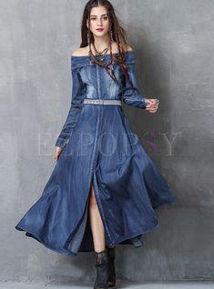 Shop Fashion Slash Neck Embroidered Slit Denim Maxi Dress at EZPOPSY. Denim Maxi Dress, Jeans Dress, Maxi Dress With Sleeves, Boho Dress, Denim Dresses, Denim Jeans, Moda Jeans, Casual Dresses, Fashion Dresses
