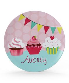 Loving this Cupcake Personalized Plate on #zulily! #zulilyfinds