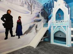 Frozen bedroom is a girl's dream!  Slide down the ice castle bed with Olaf! #frozen